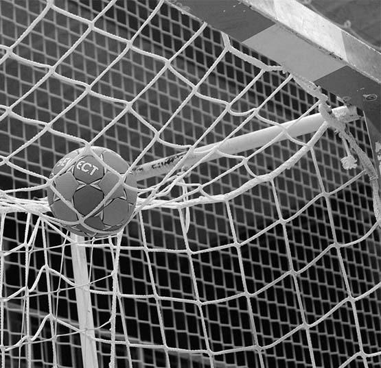 Ein Handball liegt auf dem Tornetz